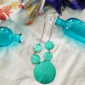 Turquoise Marble Disc Necklace